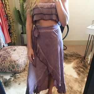 Two Piece Crop Top and Wrap Skirt Set
